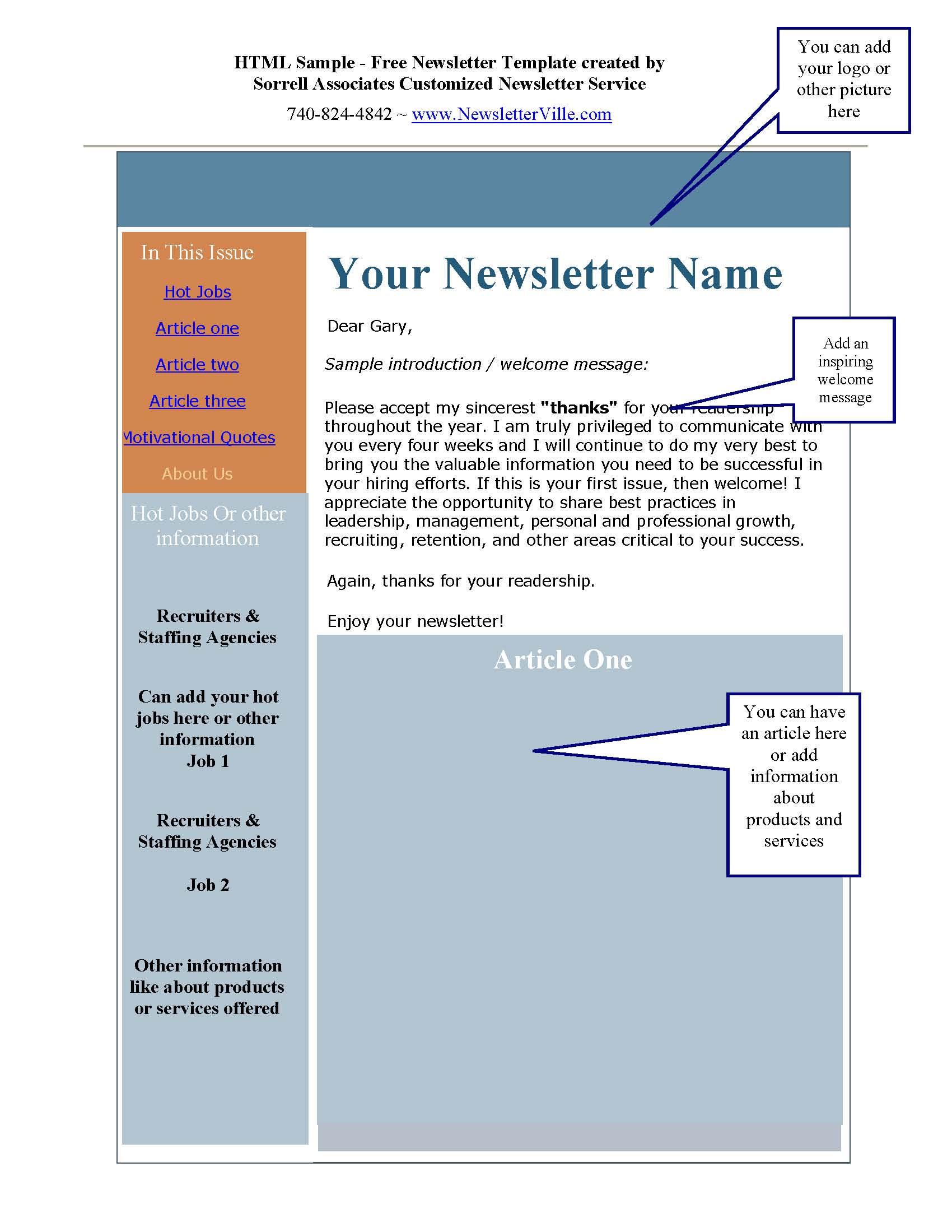 Newsletter blog articles provided plus Free Newsletter Design – Example of Newsletter Templates