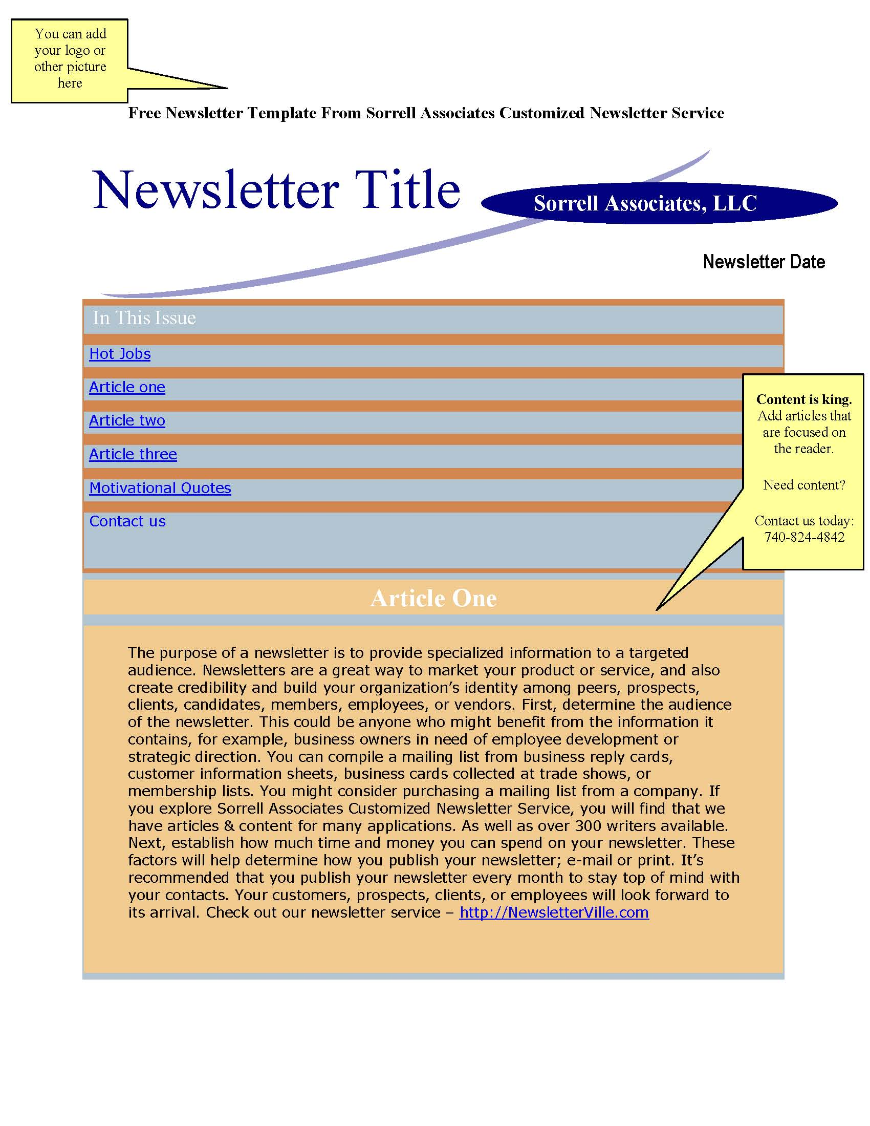 Newsletter Blog Articles Provided Plus Free Newsletter Design - Newsletter format template